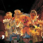 Colorful floats at night