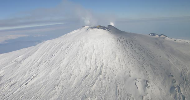 The Etna snow covered crater