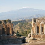 View of Etna from-the Greek Theatre